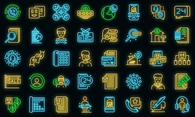 Ensemble d'icônes d'agent. ensemble de contour d'icônes vectorielles agent couleur néon sur fond noir