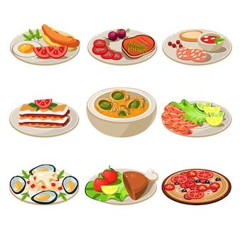 Ensemble d'icônes alimentaires déjeuner européen