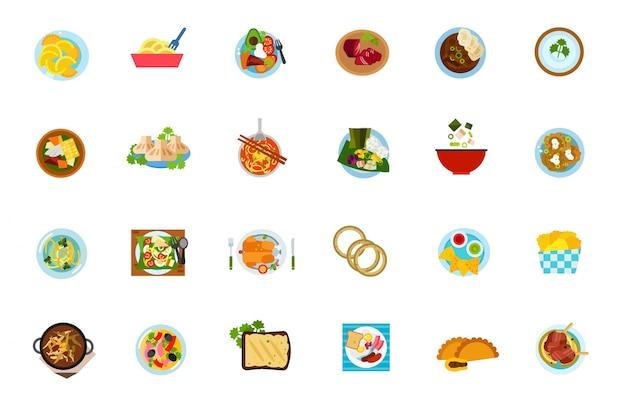 Ensemble d'icônes alimentaires traditionnelles