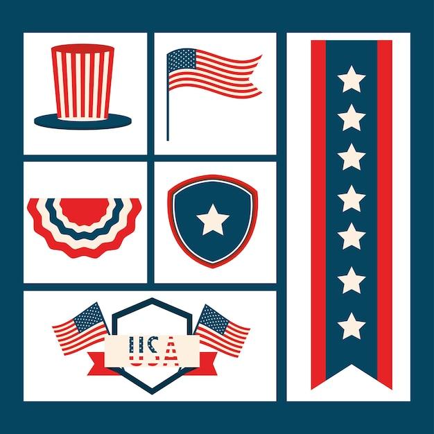 Ensemble d'icônes américaines