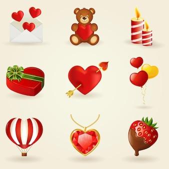Ensemble d'icônes d'amour et romantiques. collection d'éléments de conception.