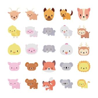 Ensemble d'icônes animaux bébé kawaii, icône de style plat