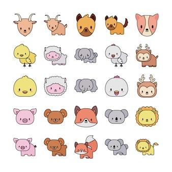 Ensemble d'icônes animaux bébé kawaii, ligne et icône de style de remplissage