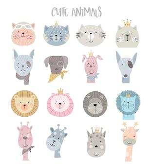 Ensemble d'icônes animaux dessin animé