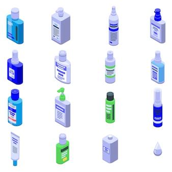 Ensemble d'icônes antiseptiques, style isométrique