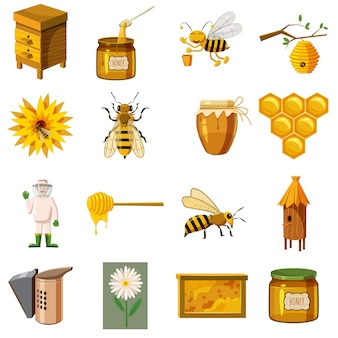 Ensemble d'icônes apicole, style cartoon