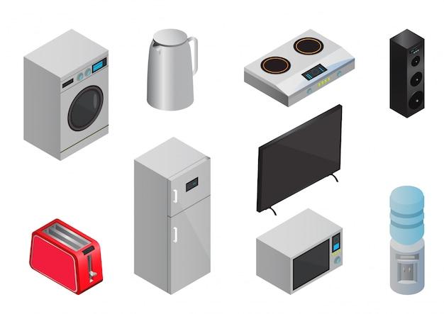Ensemble d'icônes d'appareils électroménagers isométriques