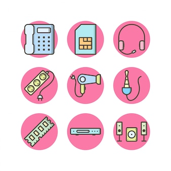Ensemble d'icônes d'appareils électroniques isolés sur blanc