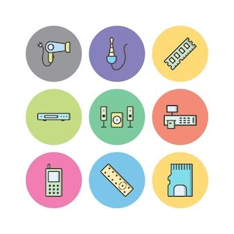 Ensemble d'icônes d'appareils électroniques isolés