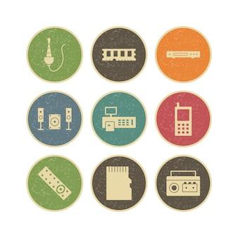 Ensemble d'icônes d'appareils électroniques pour un usage personnel et commercial