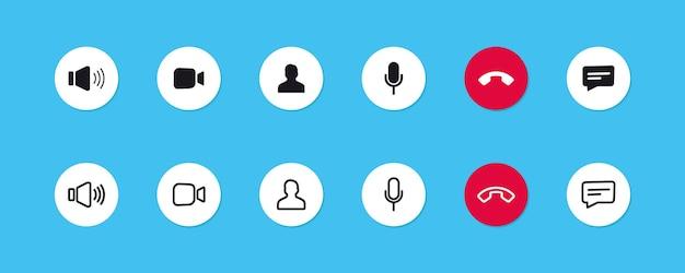 Ensemble d'icônes d'appel vidéo. conférence vidéo. boutons de collections de l'application de chat vidéo en ligne, discussion sur internet, technologie d'appel. modèle d'affichage de l'interface utilisateur de l'application web. espace de travail de visioconférence et de réunion en ligne