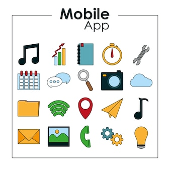 Ensemble d'icônes d'applications mobiles