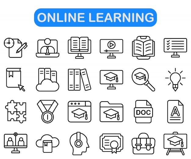 Ensemble d'icônes d'apprentissage en ligne