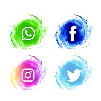 Ensemble d'icônes aquarelle abstraite de médias sociaux