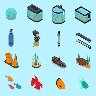 Ensemble d'icônes d'aquarium