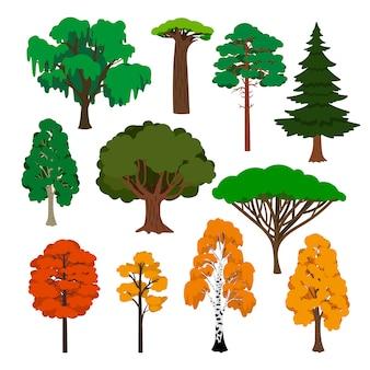 Ensemble d'icônes d'arbres de dessin animé