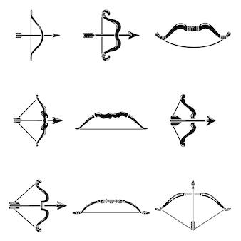 Ensemble d'icônes arc flèche arme