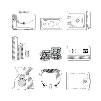 Ensemble d'icônes de l'argent de tirage au sort