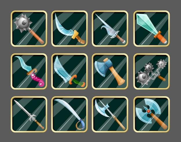 Ensemble d'icônes d'armes