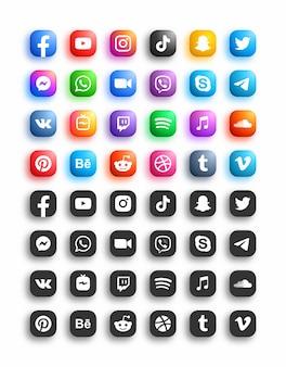 Ensemble d'icônes arrondies modernes de réseau de médias sociaux populaires