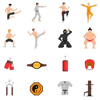 Ensemble d'icônes d'arts martiaux