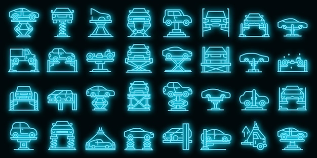 Ensemble d'icônes d'ascenseur de voiture néon vectoriel