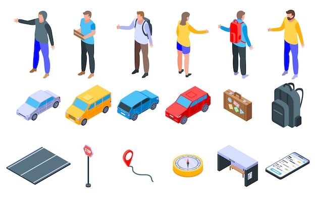 Ensemble d'icônes d'auto-stop, style isométrique