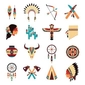 Ensemble d'icônes autochtones américains ethniques