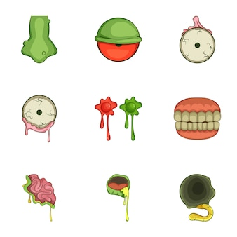 Ensemble d'icônes autocollant zombie halloween, style cartoon
