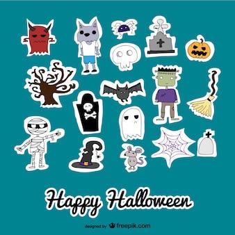 Ensemble d'icônes autocollants mignons de halloween