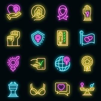 Ensemble d'icônes d'autonomisation. ensemble de contour d'icônes vectorielles d'autonomisation couleur néon sur fond noir