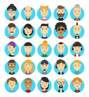 Ensemble d'icônes d'avatars de personnages de style hipster plat style 25 personnes.
