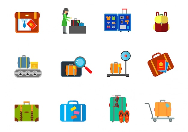 Ensemble d'icônes de bagages
