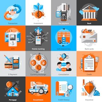Ensemble d'icônes bancaires