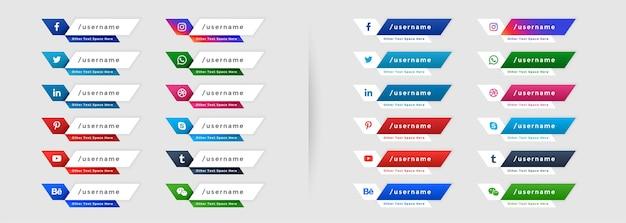 Ensemble d'icônes de bannières tiers inférieur web de médias sociaux