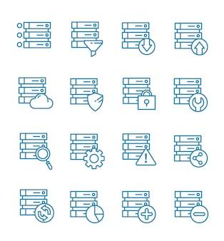 Ensemble d'icônes de base de données avec style de contour.