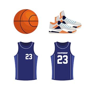 Ensemble d'icônes de basket-ball, contient des icônes telles que ballon, chaussures, chemises