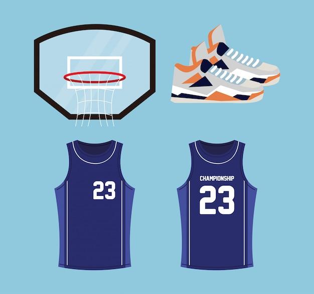 Ensemble d'icônes de basket-ball, contient des icônes telles que panier de cerceau, chaussures, chemises