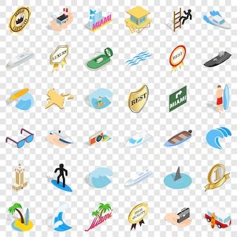 Ensemble d'icônes de bateau de mer. style isométrique des 36 icônes de bateau de mer