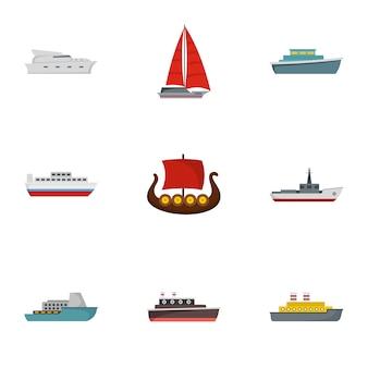 Ensemble d'icônes de bateau de sauvetage, style plat