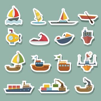 Ensemble d'icônes de bateaux et de navires