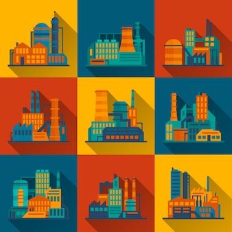 Ensemble d'icônes de bâtiment industriel