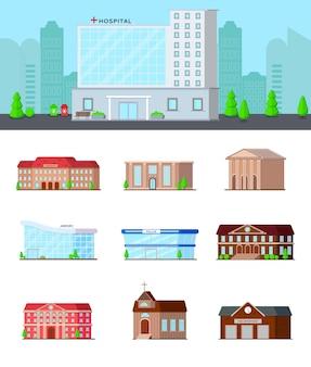 Ensemble d'icônes de bâtiments urbains