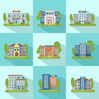 Ensemble d'icônes de bâtiments de ville
