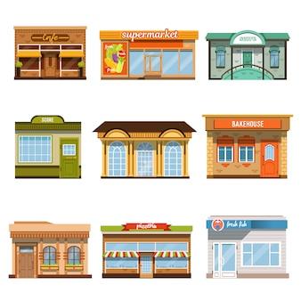 Ensemble d'icônes de bâtiments de vitrine de magasin magasin
