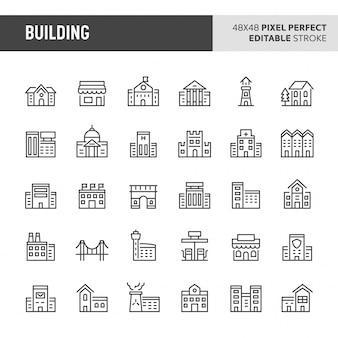 Ensemble d'icônes de bâtiments