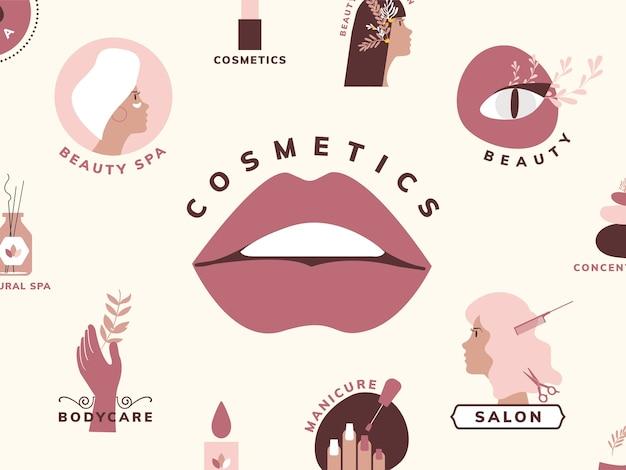 Ensemble d'icônes de beauté et cosmétiques