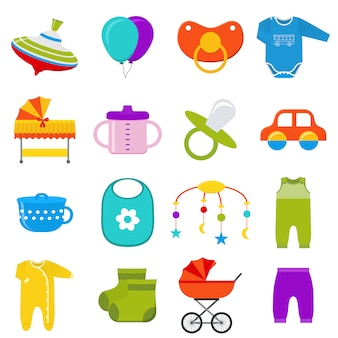 Ensemble d'icônes de bébé. illustration.