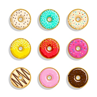Ensemble d'icônes de beignets sucrés différents. beignets mignons et lumineux
