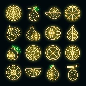 Ensemble d'icônes de bergamote. ensemble de contour d'icônes vectorielles bergamote couleur néon sur fond noir